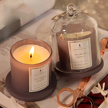 Beautiful Flower Candle Romantic Lass Container Birthday Candle Wax Scented Candles Bougie Decoratif Wedding Decoration 50KO340