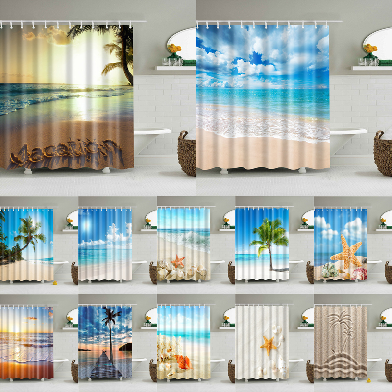 High Quality Sea Beach Shell Printed Shower Curtains Bath Screen Waterproof Products Bathroom Decor With Hooks