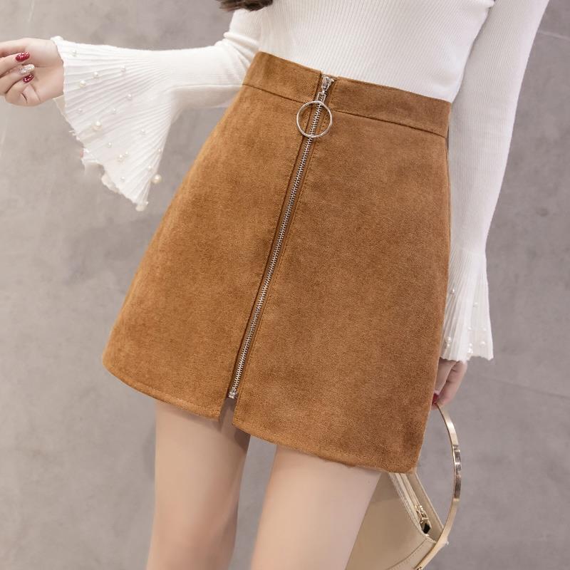 Waist 2018 new female winter zipper bag hip step A word skirt