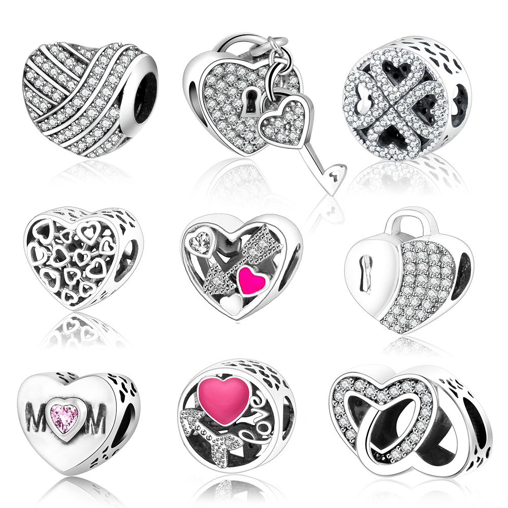 Classic Beads Love/Heart Charm Fit Original Pandora Charms Bracelet Necklace 925 Sterling Silver Bead Women DIY berloque Jewelry цена 2017