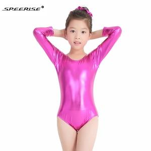 Image 2 - SPEERISE Ballet Dance Leotards for girls Shiny Metallic Gymnastics Rombers Long Sleeve Gold Leotard Kids Wear Spandex Costume