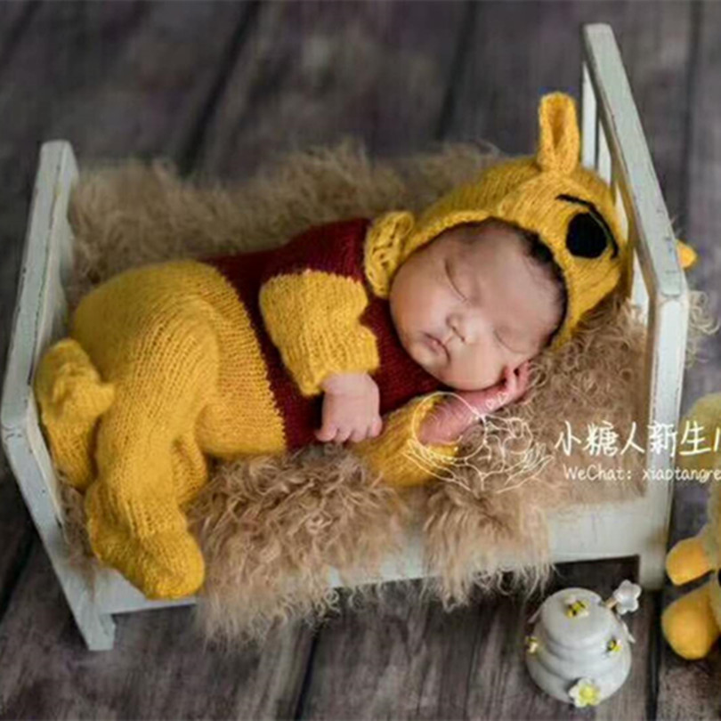 Newborn Animal Set Knitted Newborn Boy Footed Romper Vintage Teddy Bear Hat Props Bear Jumpsuit Baby Clothes Props Posing Toy