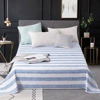 1pc Reactive Dyes Summer Flat Sheet Blue/White Stripe Bedsheet Xinjiang Long staple Cotton Sheet Adults Home Bedding