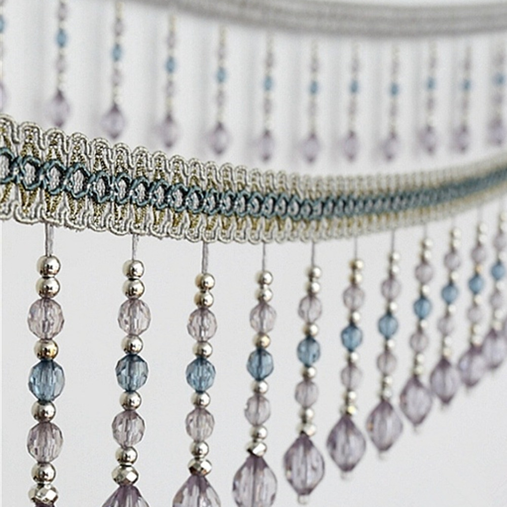 12meters Briaded Hanging Beads Tassel Fringe Trimming Applique Fabric Ribbon Tape Band Curtain Table Wedding Decorated T2583-in Tassel Fringe from Home & Garden    1