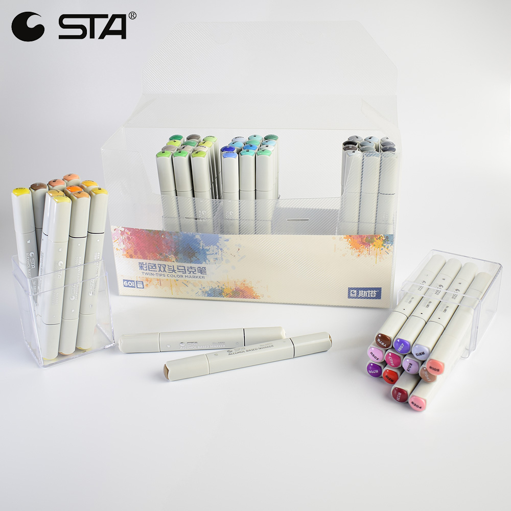 STA Alcohol Sketch Markers 60 Colors Basic Set Dual Head Marker Pen For Drawing Manga Design Art Supplies dainayw 12 cool grey colors marker pen grayscale dual head art markers set for manga design drawing school student supplies