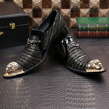 2018 Italian Men Genuine Leather Shoes Fashion Design Black Crystal Buckle Men Casual Flats Party Wedding Men business Shoes