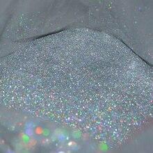 "50g 0,2 MM(1/128 "")008 pulgadas fino holográfico colorido plata Nail Art purpurina polvo forma hexagonal para decoración de Arte de uñas, UY"