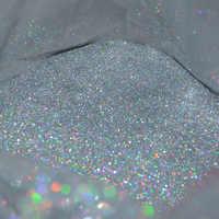"""50g 0.2 MM (1/128 """") 008 pouces Fine holographique coloré argent Nail Art paillettes poussière poudre hexagone forme pour la décoration de l'art des ongles, UY"""