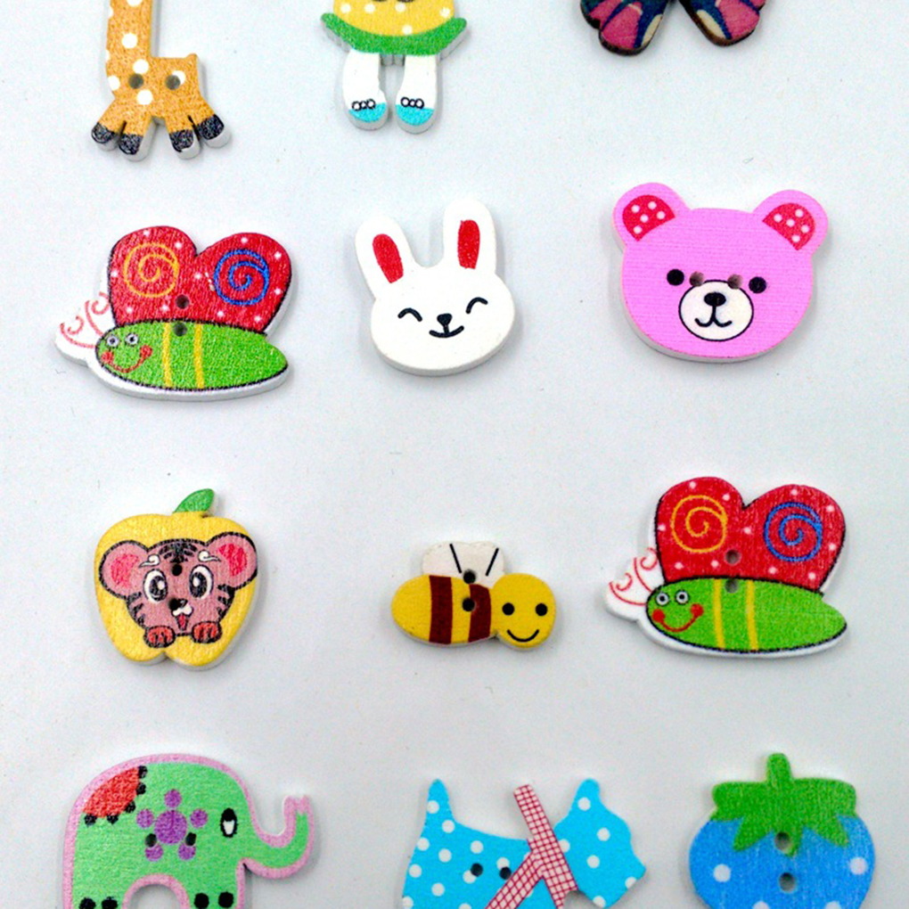 Home & Garden Industrious 50pcs/set Scrapbooking Wooden Buttons Mixed Animal Rabbit Giraffe Elephant Head Buttons Diy Sewing Accessories Pleasant To The Palate