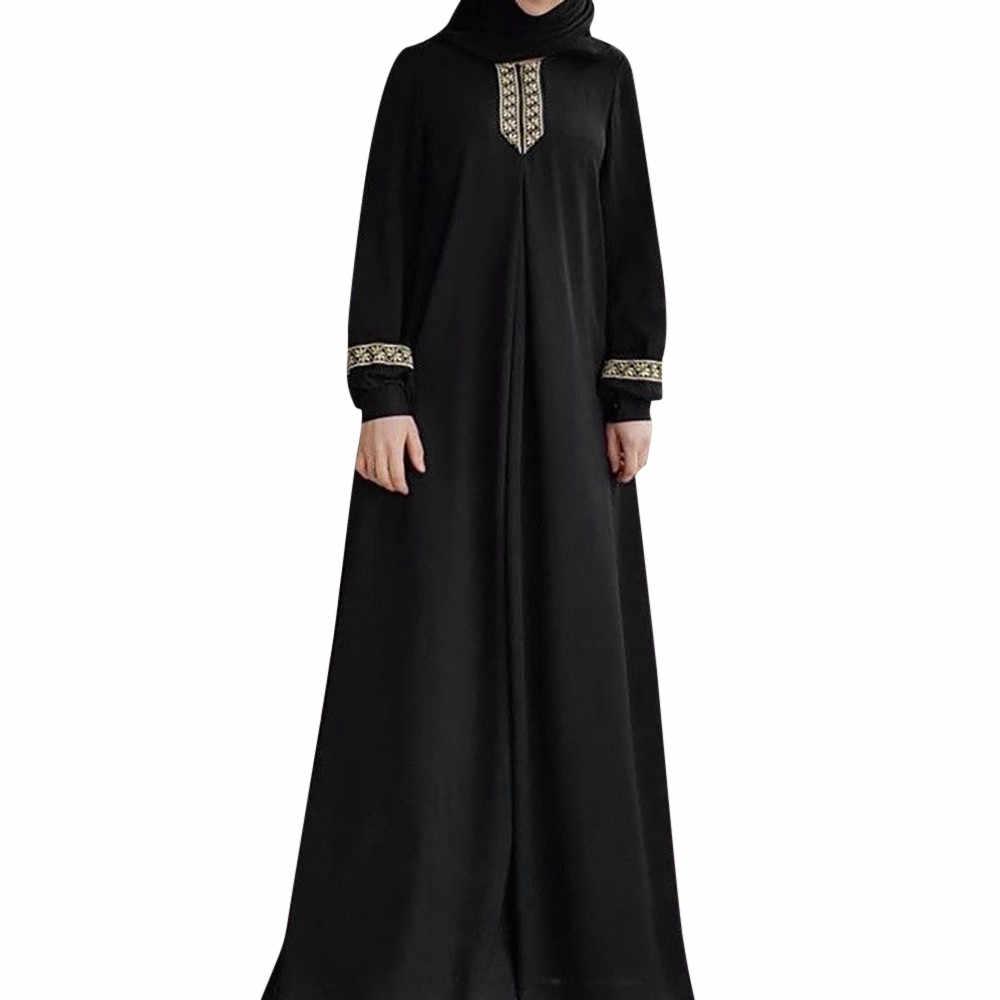 女性イスラム教徒のロングローブチュニックプラスサイズ Jilbab マキシドレスカジュアルアバヤドバイヒジャーブドレスラマダンアラブイスラム服