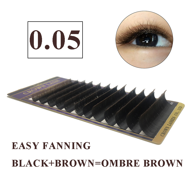 44b3a552484 CrownLASH 0.05 2 Colors Black Brown Easy Fan Volume Lash Self Fanning  Double Layers Free Shipping