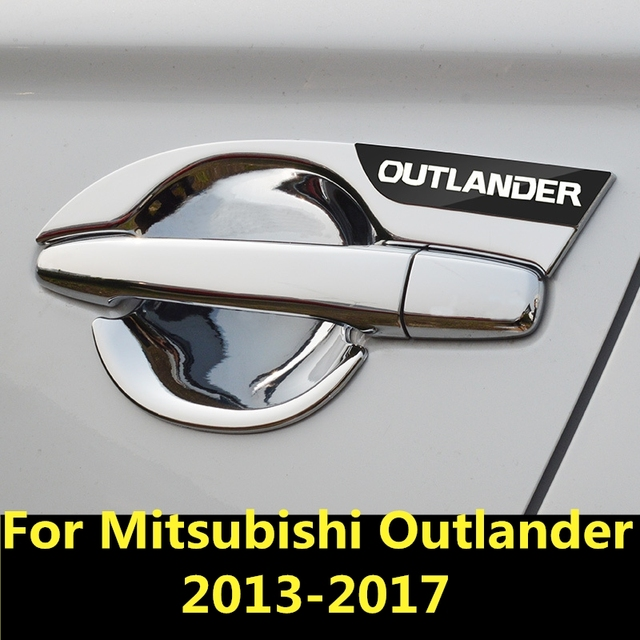 For Mitsubishi Outlander 2013-2017 Car Styling Inner Door Handle Cover Door Bowl Frame Trim Sticker Accessories Blade door bowl