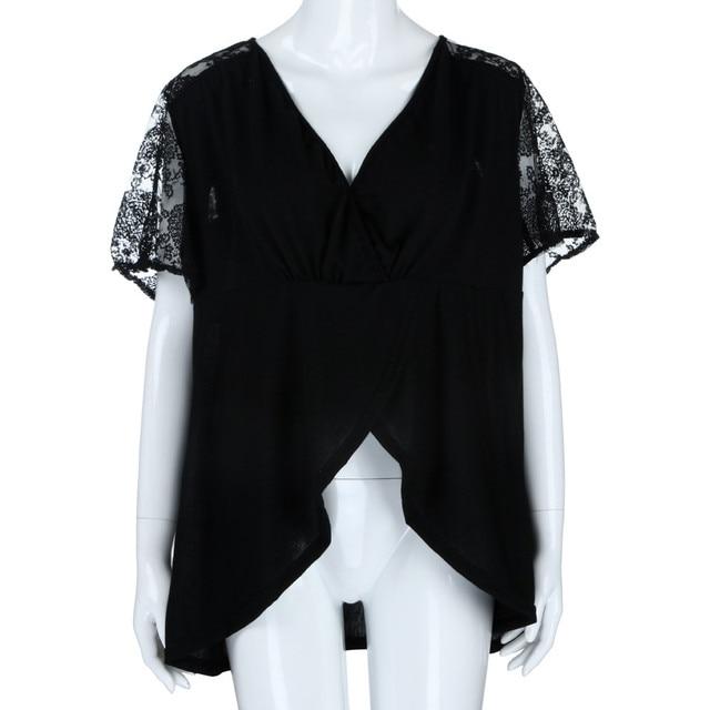 XL-5XL Plus Size Fashion Women V-Neck Lace Cold Shoulder Ladies Loose Shirt Tops Casual Short Sleeve Blouse Summer Female Blusa 4
