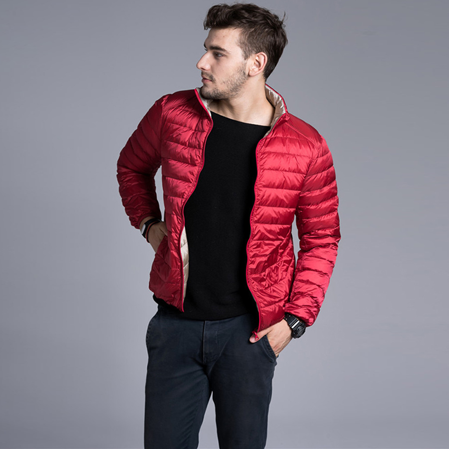 2016 Fashion Autumn Winter Ultra light Men 90% White Duck Down Jacket Stand Collar Warm Duck Down Coat Down Parkas Outerwear