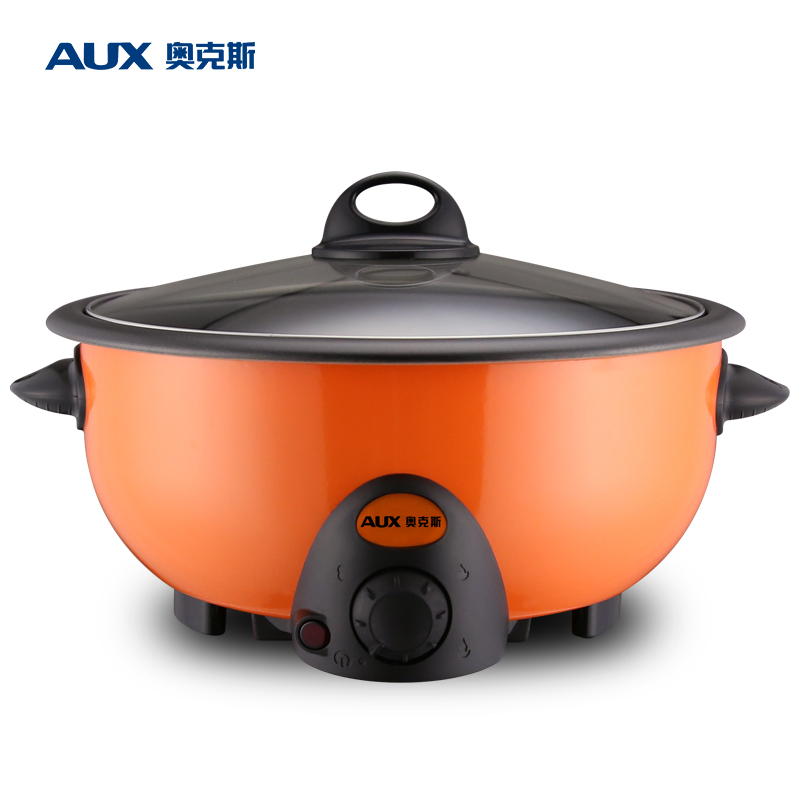 1300W/50Hz WUXEY Multifunctional Non-stick Electric Hot Pot 3.5L Wok Orange Electric Food Steamer Stew Pot Korean Frying Pan edtid multifunctional electric cooker mini heat pan students hot pot without oil fume nonstick frying pan special offer