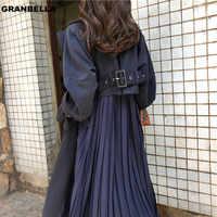 "Fábrica directamente venta popular estilo moda plisada trench coats mujer ""s manga larga cortavientos sobretodo abrigo mujer TR001"