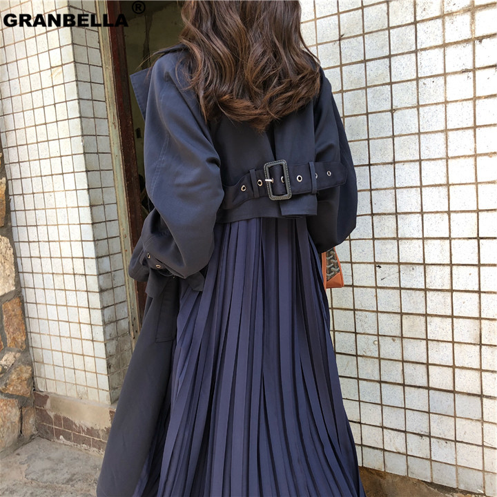 Factory Directly sale popular style Fashion Pleated   trench   coats women