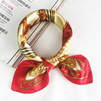 50*50 Multifunction Silk Scarf women fashion Printed Scarves Hair Tie Flower Leopard Striped Ribbon Headwear Retro Neckerchief 10