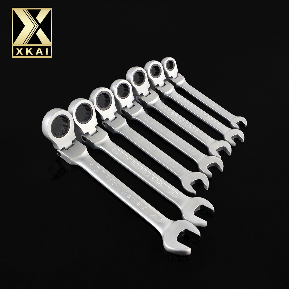 XKAI 8.10.12.13.14.17.19mm  Flexible Head Ratchet Spanner Combination wrench a set of keys ratchet handle tools torque wrench veconor 8 10 12 13 15 17 19mm ratchet spanner combination wrench a set of keys gear ring tool ratchet handle chrome vanadium