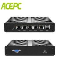 Безвентиляторный мини ПК PFsense сервер Celeron J1900 4 ядра 4 Gigabit LAN маршрутизатор брандмауэра Windows 10 HTPC тонкий клиент RJ45 LAN VGA