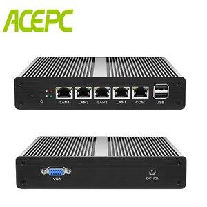 Fanless Mini PC PFsense Server Celeron J1900 Quad Core 4 Gigabit LAN Firewall Router Windows 10/8/7 Nettop HTPC RJ45 VGA Minipc
