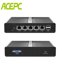 Fanless Mini PC PFsense Server Celeron J1900 Quad Core 4 Gigabit LAN Firewall Router Windows 10 HTPC Thin Client RJ45 LAN VGA
