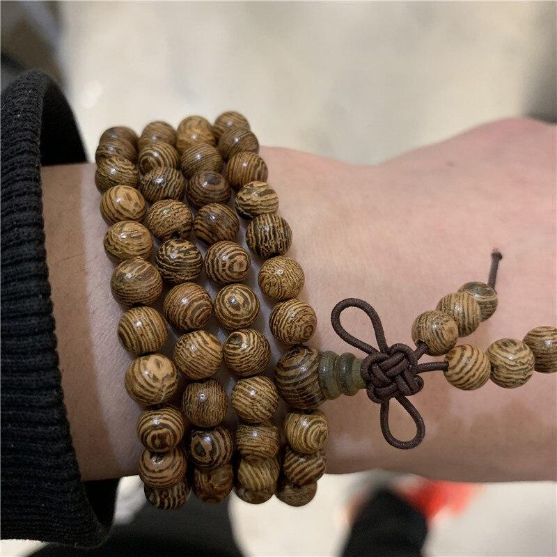 Femme homme imitation bois de santal LAVA STONE Bouddha Perles Bracelet Jonc 2pcs