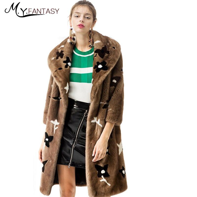 M. Y. FANSTY 2017 Import Swan Velvet Donne Visone Inverno Cappotto Di Pelliccia Turn-Down Collar Stampa Fiore cappotto Nove Quarti Lunghi Cappotti di Visone