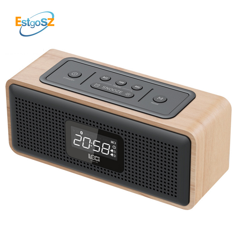 EStgoSZ Retro Wooden Radio Bluetooth Speaker Subwoofer FM Support Alarm Clock AUX TF Card USB Disk With Remote Control H91 wooden multi functional fm radio bluetooth speaker alarm clock mp3 player support micro sd tf card usb remote control