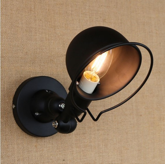 Black RH Iron Wrount Vintage Light In Style Loft Iron Industrial Wall Lamp Sconce Luminaire Antique Lamp Luminaria