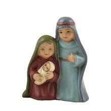 Polyresin семья Иисуса младенец Рожденный Рождества набор статуя Mary Miniatures фугурины ортодоксальный ковчег Ковенант Marie Joseph церковная