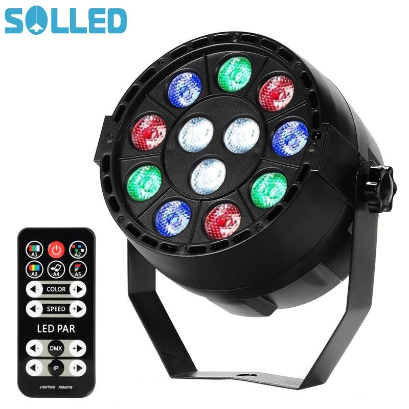SOLLED 12 LED Par Lights RGB Colorful Multi Lighting Modes Stage Lights Flexible Remote Control DMX Control Disco Lights US Plug