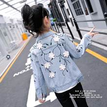 2019 Spring New Children's Denim Jacket Baby Girls Clothes Appliques Print Girls Coat Teenage Kids Outwear 6 8 10 12 Years Y264(China)