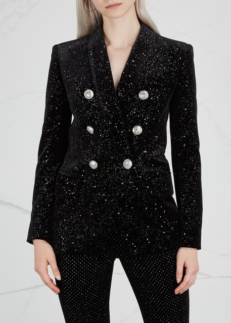 7166953f Luxury Design Shiny Black Velvet Blazer Double Breasted Silver Buttoned  Front Long Sleeved 2018 Fashion Woman