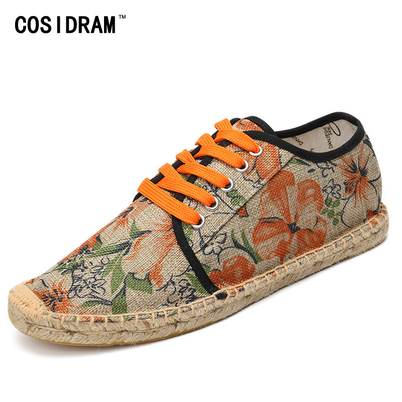 COSIDRAM Printing Men Casual Shoes 2017 Canvas AAA Men Shoes Fashion Male Footwear Espadrille Fisherman Shoes Flats RMC-854