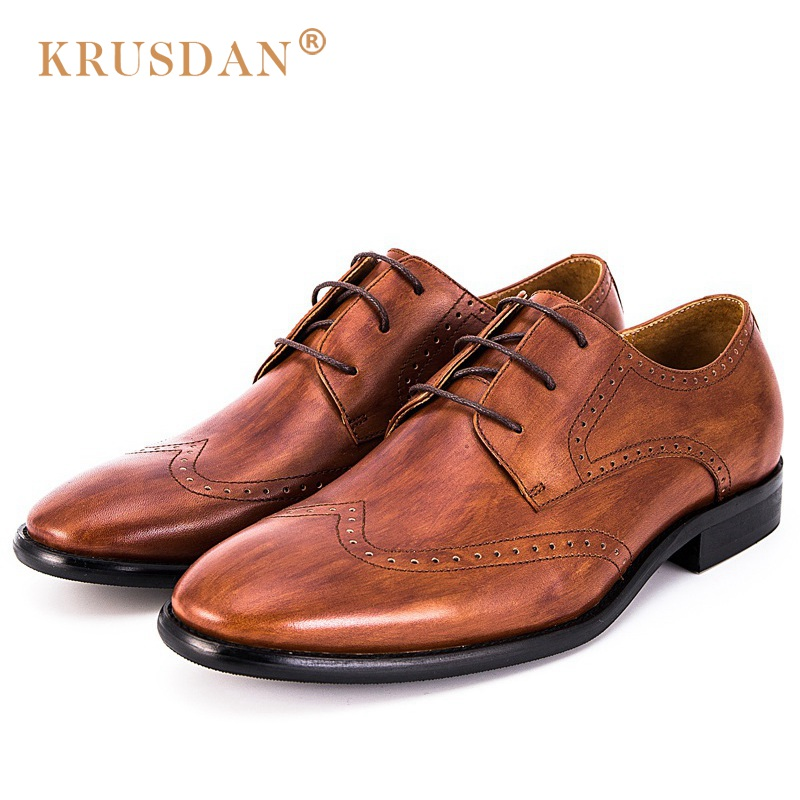 KRUSDAN British Designer Brogue Man Formal Dress Shoes Genuine Leather Handmade Oxfords Round Toe Men's Wedding Party Flats OQ98