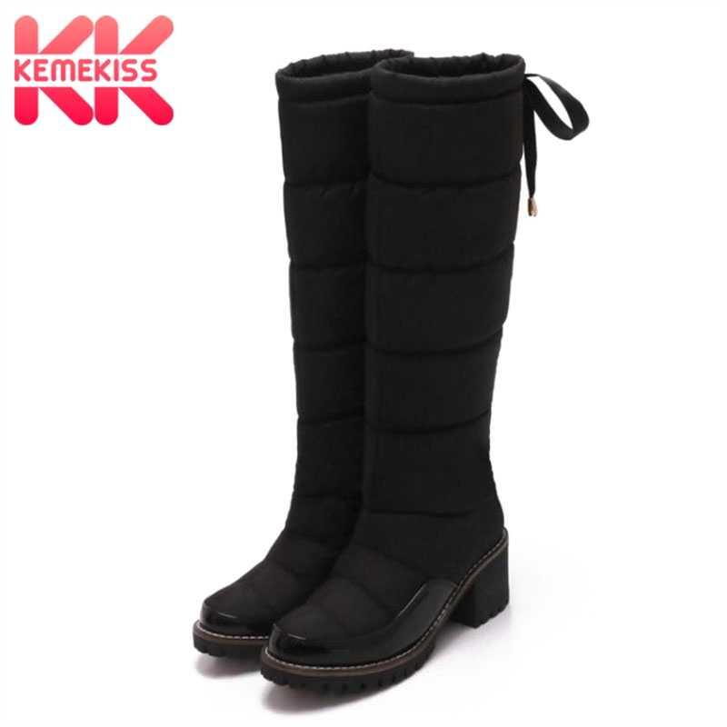 ba35bf32d54 KemeKiss Women Winter Knee High Boots Warm Cotton Shoes For Women Plush Fur  Thick Heel Boots