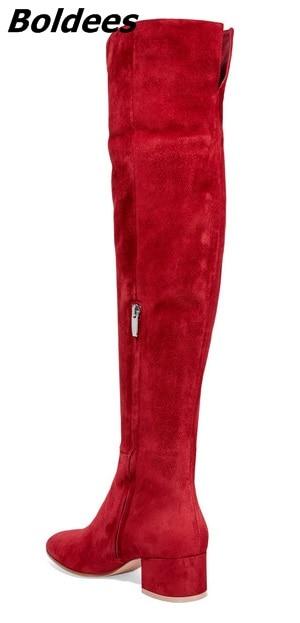 Lavanda Largo Lujo Rodilla Nueva plata Estilo Chunky rojo Rojo Ronda De Suede Heel Bloque Mujeres Simplemente Con Celebrity Llegada Botas Diseño U5aqpXWwa