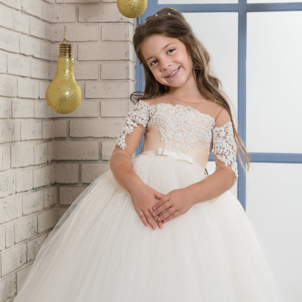 2017 Champagne Flower Girl Dresses Long Sleeves O-ncek Button Sheer Tulle Ball Gown First Communion Gowns Vestidos Longo Custom 2017 new flower girl dresses long sleeves o neck back sheer tulle ball gown kids prom evening party communion dresses vestidos