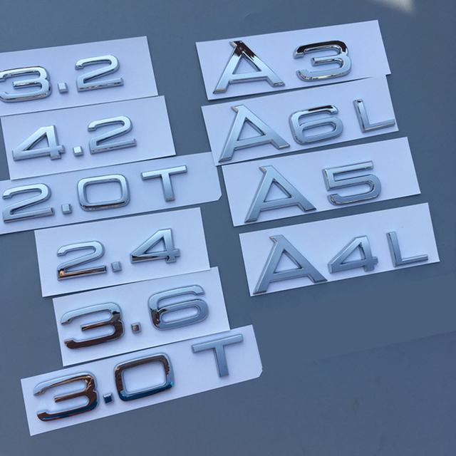 1.8T 2.0T 2.4 3.0T 3.2 3.6 4.2 A3 A4 A5 A6L A7 A8L Q3 Q5 Q7 Letter Number Chrome Emblem Car Trunk Capacity Badge Logo Sticker