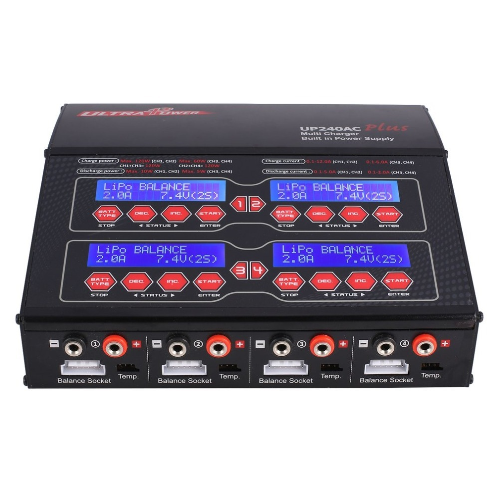 Ultra Power UP240AC Plus 240 W 4 Doors Lilo/LiPo/LiFe/ NiMH/NiCD/Pb Battery Multi Balance Charger/Discharger for RC Drone new g t power x drive 607 4 80w life nimh nicd lipo battery balance charger discharger