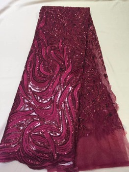 African sequins tulle lace Hot new for guipure african sequence cord lace fabric for Nigerian wedding dresses ML6135