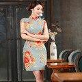 2016 Novo Chinês Tradicional Roupa Vestidos Cheongsam Qipao Cheongsams Algodão Retro das Mulheres Vestidos