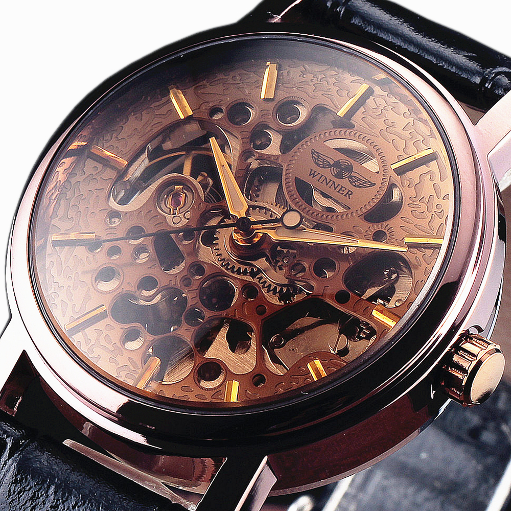 Top Brand Winner Luxury Fashion Casual Stainless Steel Men Mechanical Watch Skeleton Automatic Watch For Men Dress Wristwatch winner woman s watch fashion lady design brand automatic dress wristwatch wrl8011m3g3