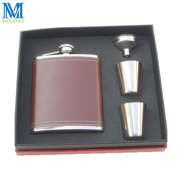 7OZ Flagon With Funnel And Cup Hip Flask Gift Box High Quality Portable Stainless Steel Hip Flask Set