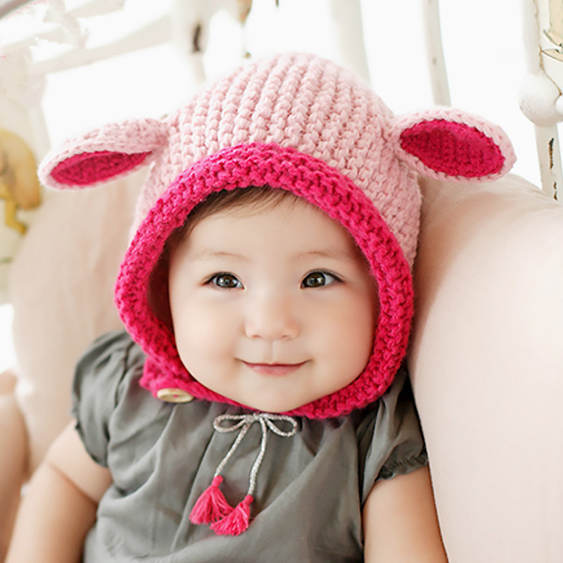 Baby Cute Ears Beanie Handmade Costume Warm Thick Knitted Hat Newborn Photography Prop Caps newborn photography prop crochet hats handmade baby costume knitted beanies hat caps