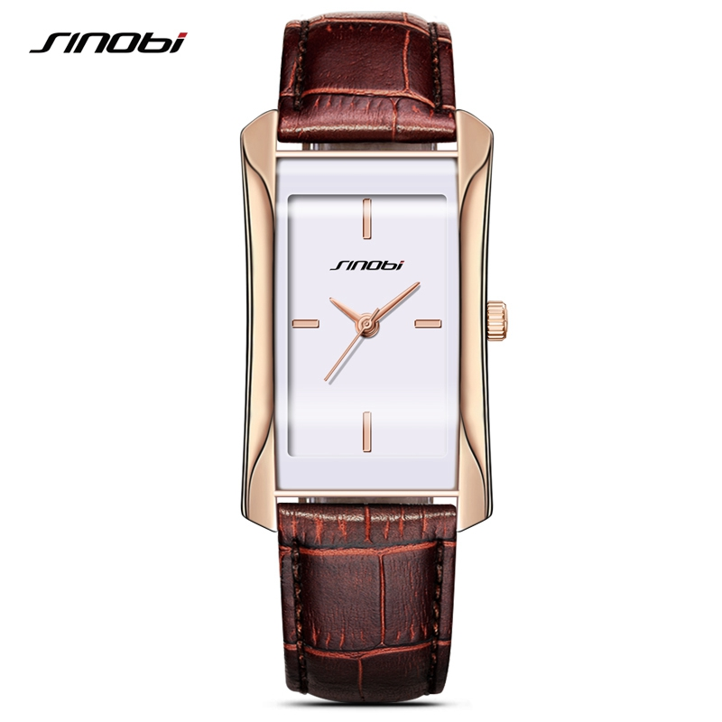 SINOBI Elegant Women Square Golden Wrist Watches Leather Watchband Top Luxury Brand Ladies Quartz Clock 2017