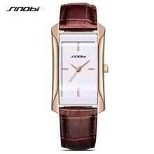 Sinobi de las mujeres elegantes square oro reloj de pulsera relojes de marca señoras reloj de cuarzo correa de cuero de lujo superior 2017 mujer nueva