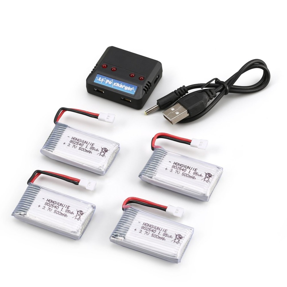 4Pcs 3.7V 650mAh Battery + 4 In 1 USB Charger For Syma X5C X5C-1 X5SC X5SW MJX X705C RC Drone Quadcopter Spare Battery Parts