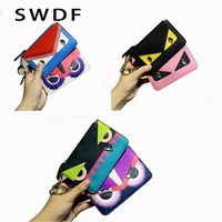 SWDF New Cow Leather Women Wallets Little Monster Women S Purses Ladies Clutch Coin Pocket Card